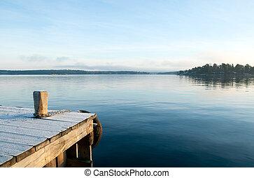 hen, udsigter, sø, i ligevægt