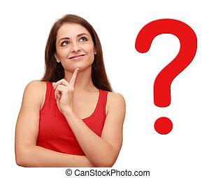 hende, tænkning, spørgsmål, oppe, tegn, kigge, pige, rød