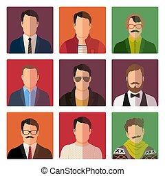 henkastet, firmanavnet, mandlig, avatar, iconerne