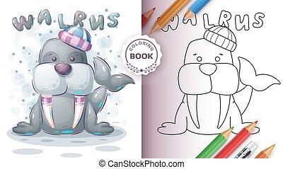 henrivende, børn, coloring, barnet, -, bog, walrus