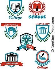 heraldiske, symboler, konstruktion, læreanstalt undervisning, universitet