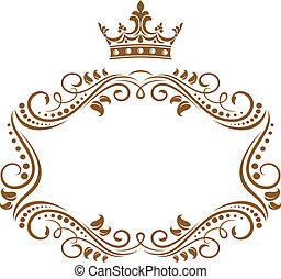 herskabelig, ramme, kongelig krone