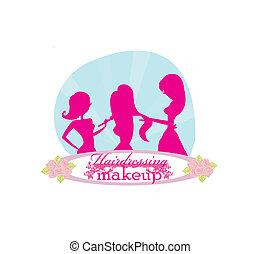 herskabelig, salon, pige, skønhed
