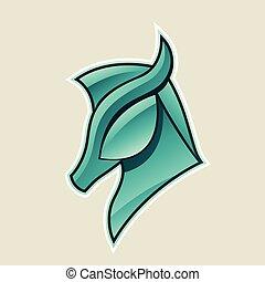 hest, anføreren, illustration, vektor, grønne, blanke, ikon, persisk