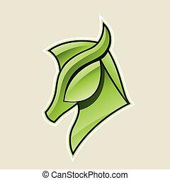 hest, anføreren, illustration, vektor, grønne, blanke, ikon