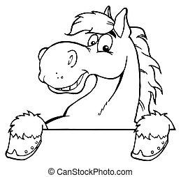 hest, skitseret