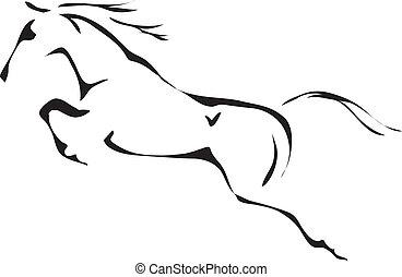 hest springe, vektor, sort, hvid, udkast