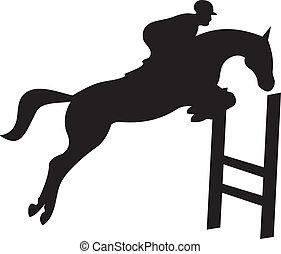 hest, vektor, silhuet