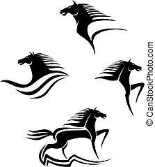 heste, symboler, sort