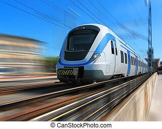 high-speed, afføringen, tog, sløre