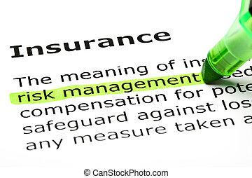 highlighted, 'risk, management', 'insurance', under