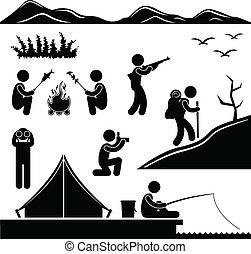 hiking, lejr, jungle, camping, trekking