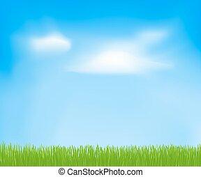 himmel, forår, abstrakt, skyer, grass., vektor, grøn baggrund, konstruktion, din, skabelon