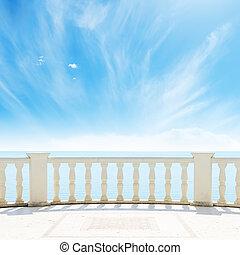 himmel, grumset, hav, under, altan, udsigter