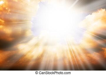 himmel, sol, -, stråler, religion, begreb, himmel