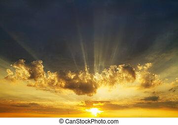 himmel, solopgang