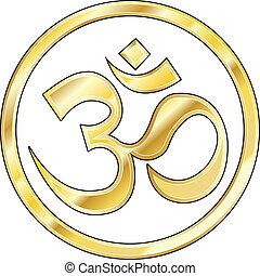 hindu, guld, om, vektor
