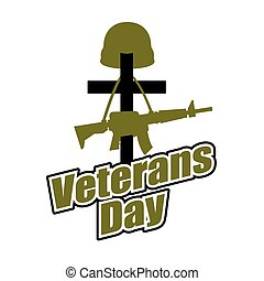 hjælm, day., veteraner, logo, ferie, national, militær, gun., america., kors