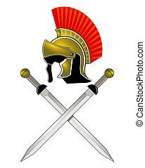 hjælm, romersk, sværde