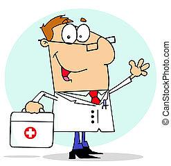 hjælpemiddel, doktor, bære bag, hans, først