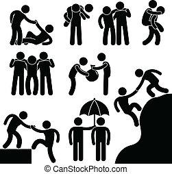 hjælper, anden, firma, kammerat, hver