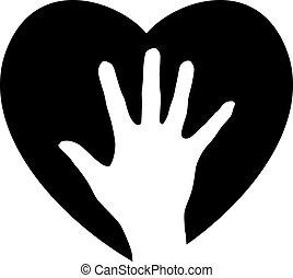 hjælper, hjerte, hånd