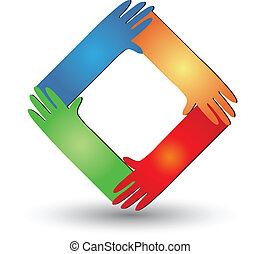 hjælper, logo, vektor, hænder