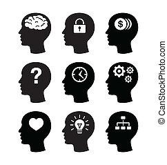 hjerne, hovede sæt, vecotr, iconerne