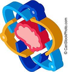 hjerne, ikon, illustration, atom, isometric, menneske, vektor
