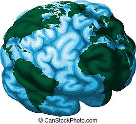 hjerne, klode, illustration, verden