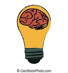 hjerne, skitse, begreb, ide, pære