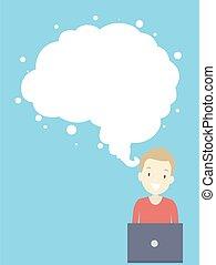 hjerne, tænkning guy, illustration, sky, teenager, konstruktion