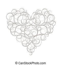 hjerte, abstrakt, din, konstruktion, facon