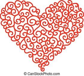 hjerte, abstrakt formgiv, facon, din