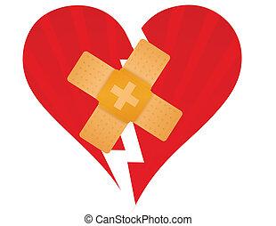 hjerte brækkede, hjælpemiddel, band
