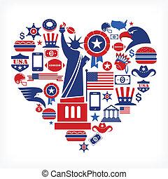 hjerte, constitutions, iconerne, mange, -, facon, vektor, amerika