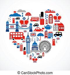 hjerte, constitutions, iconerne, mange, -, vektor, london