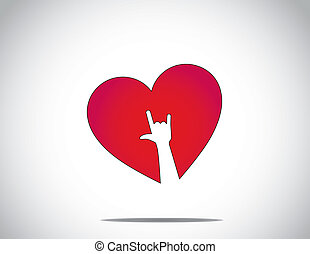 hjerte, constitutions, og, hånd, hvid, du, rød