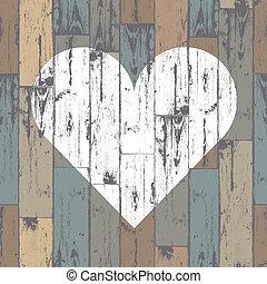 hjerte, eps10, af træ, baggrund., vektor, hvid