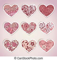 hjerte, etiketter, sæt, formet