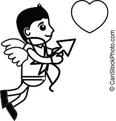 hjerte, fange, cartoon, cupid