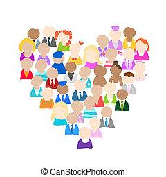 hjerte, folk, iconerne, facon, konstruktion, din