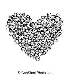 hjerte form, det peoples, konstruktion, din, glade
