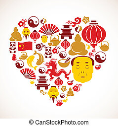 hjerte form, kina, iconerne