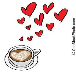 hjerte formede, doodle, valentine, illustrationer, latte., begreb, dating