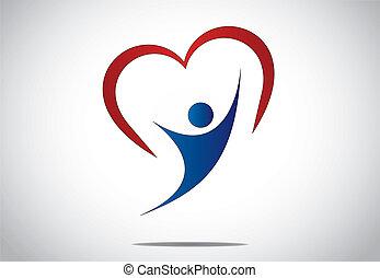 hjerte, glæde, unge, hop, person, glade