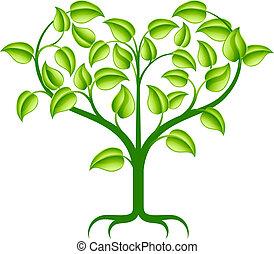 hjerte, grønnes træ, illustration