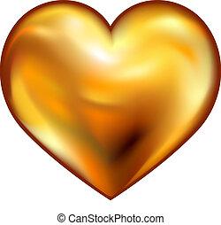 hjerte, guld
