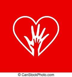 hjerte, hænder, to