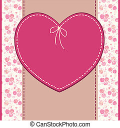hjerte, hils, fødselsdag, vektor, bryllup, blomster, eller, card